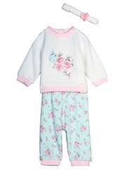 Little Me Baby Girls Aqua Rose Quilt Pant Set with Headband
