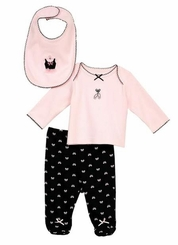 Little Me Baby Girls Ballet Bow Footie and Bib Set