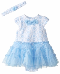 Little Me Baby Girls Blue Damask Tutu Dress with Headband