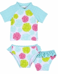 Little Me Baby Girls Blue Floral Rashguard Swimsuit Set