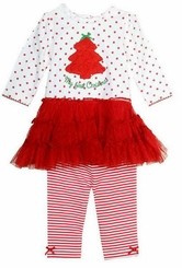 Little Me Baby Girls Christmas Tutu Dress Legging Set
