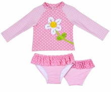 Little Me Baby Girls Daisy Dot Rashguard Swimsuit Set