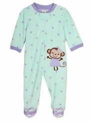 Little Me Baby-Girls Infant Monkey Blanket Sleeper