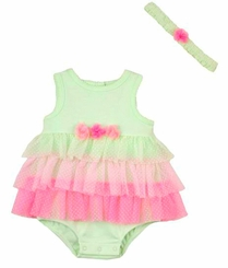 Little Me Baby Girls Mint Sherbert Tutu Dress and Headband