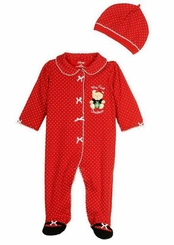 Little Me Baby Girls My 1st Christmas Bear Footie
