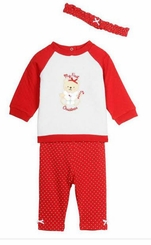 Little Me Baby-Girls My 1st Christmas Bear Sweatshirt Set