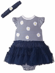 Little Me Baby Girls Navy Stripe Daisy Dress Set 9 months LAST ONE