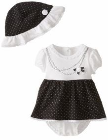 Little Me Baby Girls Necklace Dress and Hat