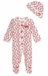 Little Me Baby Girls Newborn Girls Damask Holiday Footie