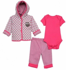 Little Me Baby Girls Owl Quilted Jacket Set