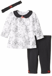 Little Me Baby Girls Pant Set : Black White Bird Toile