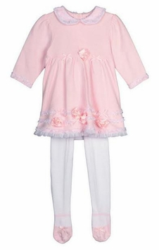 Little Me Baby Girls Pink Lace Trim Dress and Tights