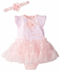 Little Me Baby Girls Pink Lace Tutu Dress with Headband