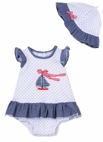Little Me Baby Girls Sailboat Dress with Sunhat