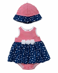 Little Me Baby Girls Stars and Stripes Popover and Hat