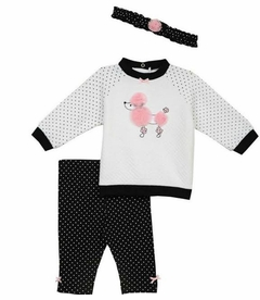 Little Me Baby Girs Poodle Quilt Pant Set