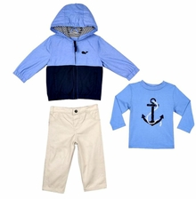 Little Me Baby or Toddler Boys Whale 3 Pc Jacket Set