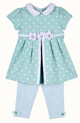 Little Me Baby or Toddler Girls Aqua Dot Stripe Legging Set