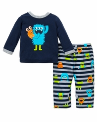 Little Me Boy's Poly Monster 2 Pc Pajamas