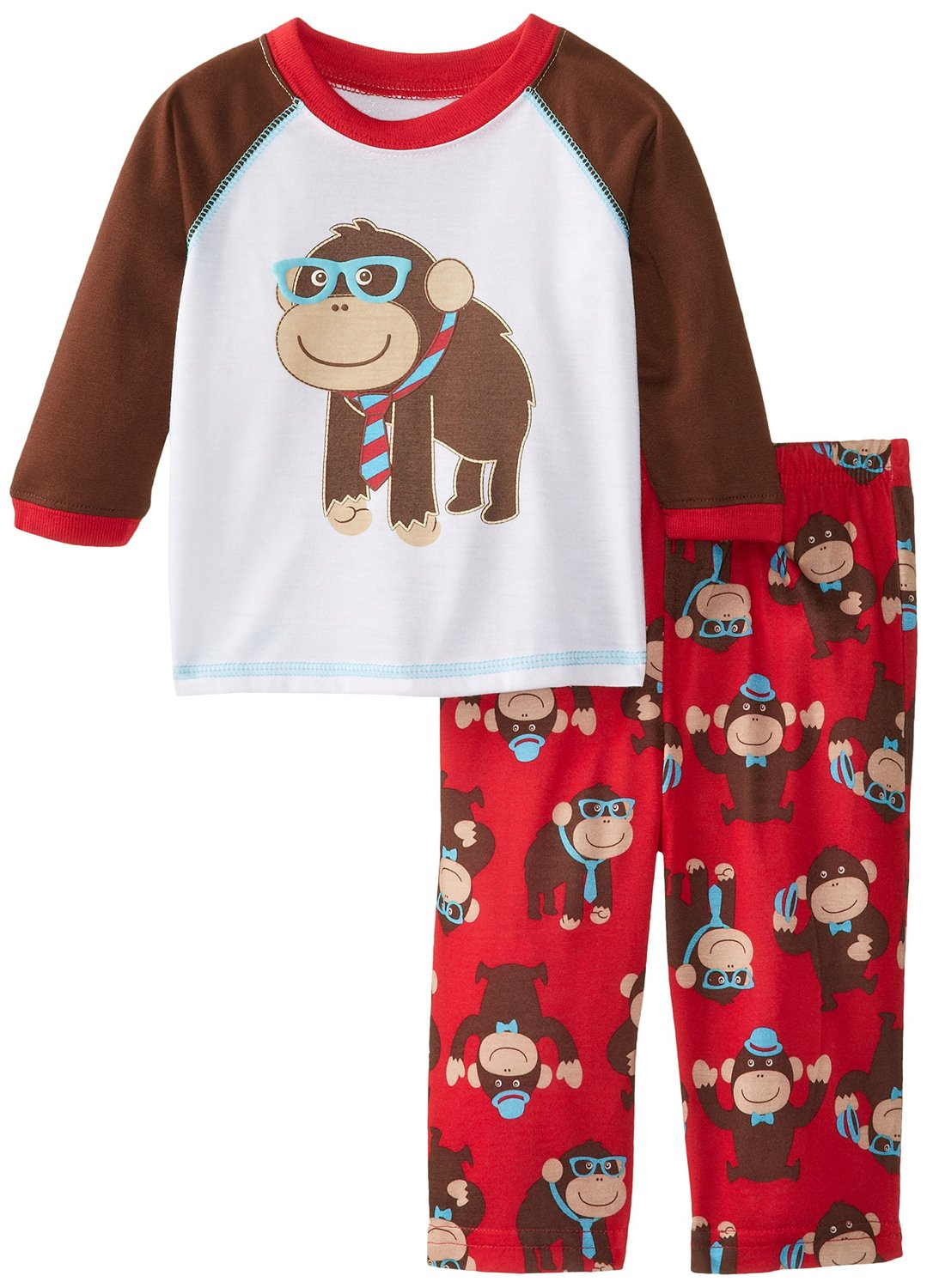 Little me boys infant monkey red two piece pajamas