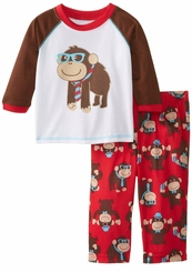 Little Me Boys Infant Monkey Red Two-Piece Pajamas