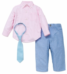 LIttle Me Boys PInk Oxford Shirt Tie and  Pant Set