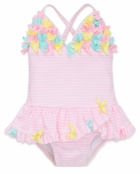 Little Me Frilly Flowers One Piece Swimsuit