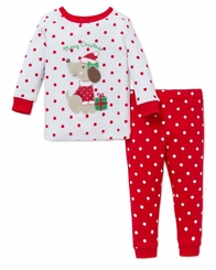 Little Me Girl's Cotton Christmas Puppy 2 pc Pajamas 12 months - 4T