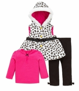 Little Me Hooded Leopard Vest Tee and Black Legging Set