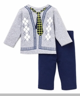 Little Me Infant Boys Preppy Tie Pant Set