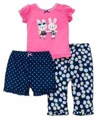 Little Me Infant or Toddler 3 pc Bunny Pajama Set