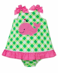 Little Me Lime Girls Checked Whale Sundress