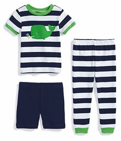 Little Me Little Boys' 3-piece Striped Whale Pajama Set