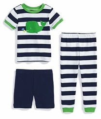 Little Me Little Boys' 3-piece Striped Whale Pajama Set - sold out