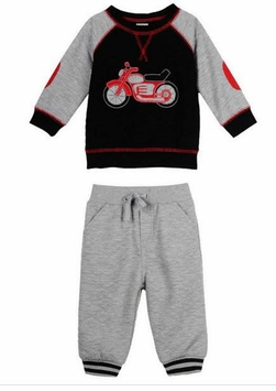 Little Me Little Boys Motorcycle Quilted Pant Set