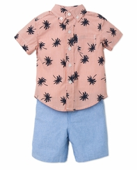 Little Me Little Boys Palm Tree Shirt and Short Set