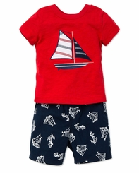 Little Me Little Boys Sailboat T-Shirt and Short Set