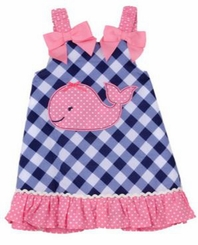 Little Me Little Girls Checked Whale Sundress
