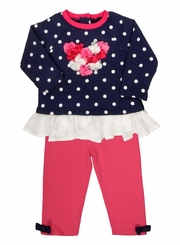 Little Me Little Girls Heart Tunic with Legging Set