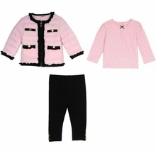 Little Me Pink and Black Quilt Jacket, Pant and Top Set - FINAL SALE