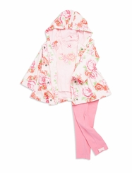 Little Me Little Girls Rose Floral Jacket Legging Top Set