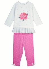 Little Me Little Girls Rose Quilt Legging Set