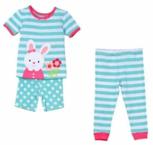 Little Me Little Girls Stripe Aqua Bunny Pajama Set