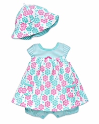 Little Me Newborn Baby Girls Blue Floral Popover with Hat