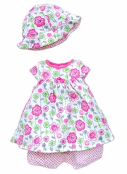 Little Me Newborn Baby Girls Pink Floral Popover with Hat