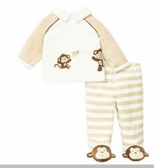 Little Me Newborn Boys Velour Footed Pant Set sold out