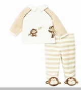 Little Me Newborn Boys Velour Footed Pant Set