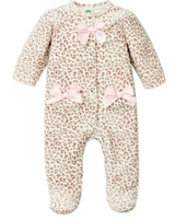 Little Me Newborn Girls Leopard Velour Footie