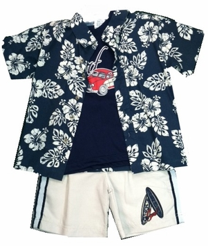 Little Rebels - Surfboard Short Set with Tee and Button Front Shirt - 4T