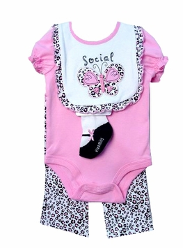 Little Social Butterfly Gift Set with Leopard Leggings - 9 month LAST ONE